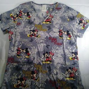 Disney Mickey minine scrub top small